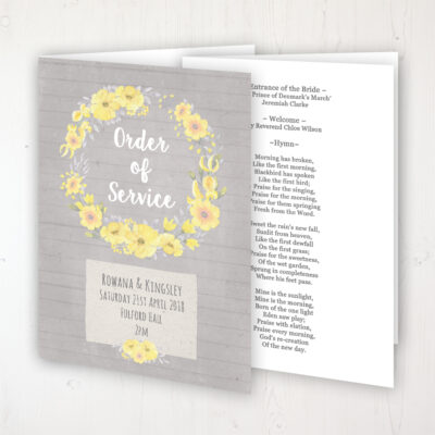 Buttercup Flutter Wedding Order of Service - Booklet Personalised Front & Inside Pages