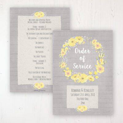 Buttercup Flutter Wedding Order of Service - Card Personalised front and back