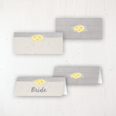 Buttercup Flutter Wedding Place Name Cards Blank and Personalised with Flat or Folded Option