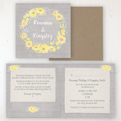 Buttercup Flutter Wedding Invitation - Folded Personalised Front & Back with Pocket in inside cover. Includes Rustic Envelope