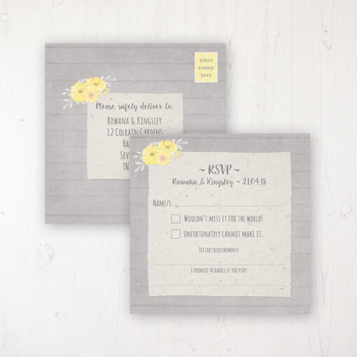 Buttercup Flutter Wedding RSVP Postcard Personalised Front & Back