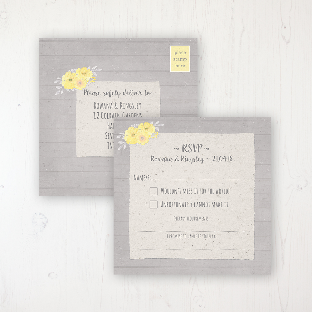 Buttercup Flutter Wedding RSVP Postcard Personalised Front & Back