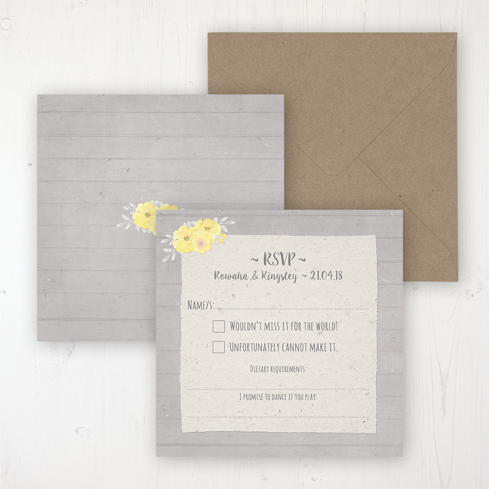 Buttercup Flutter Wedding RSVP Personalised Front & Back with Rustic Envelope