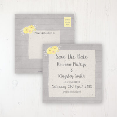 Buttercup Flutter Wedding Save the Date Postcard Personalised Front & Back