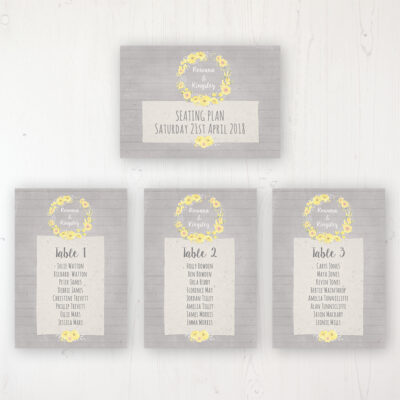 Buttercup Flutter Wedding Table Plan Cards Personalised with Table Names and Guest Names