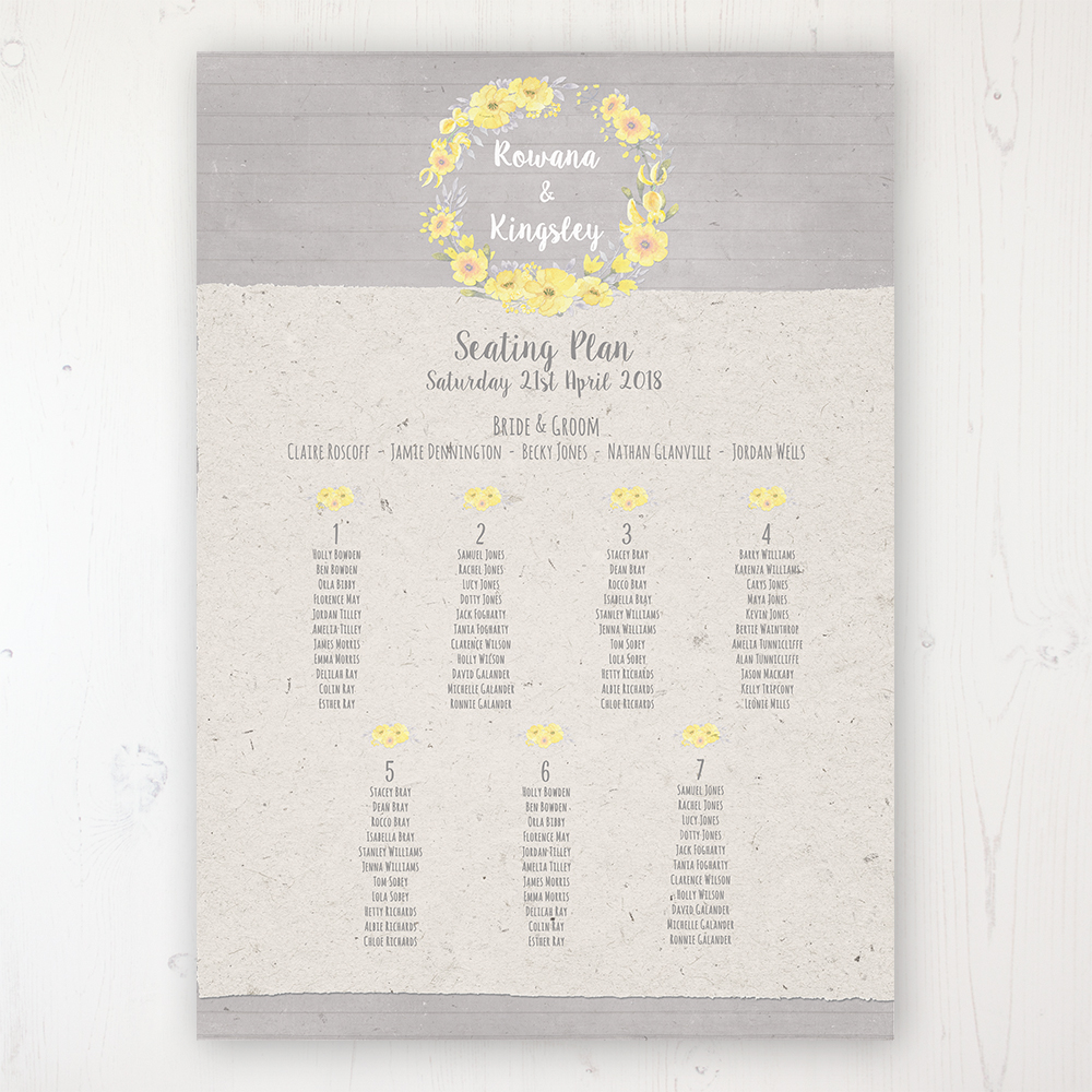 Buttercup Flutter Wedding Table Plan Poster Personalised with Table and Guest Names