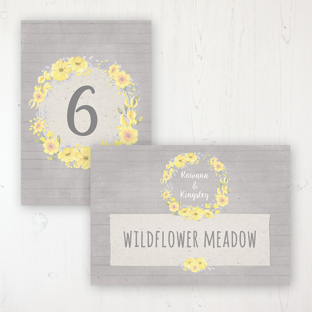 Buttercup Flutter Wedding Table Name & Number Personalised Table Name Card and Number Card
