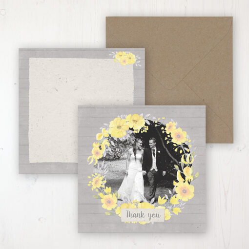 Buttercup Flutter Wedding with a photo and with space to write own message