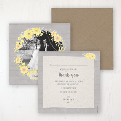 Buttercup Flutter Wedding Thank You Card - Flat Personalised with a Message & Photo