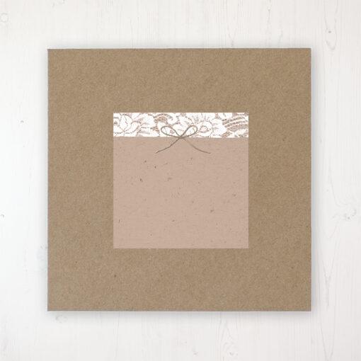 Chantilly Lace Wedding Envelope Label on Rustic Brown Envelope