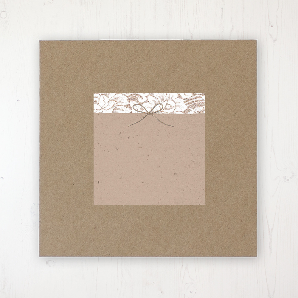Chantilly Lace Wedding Envelope Label on Rustic Brown Envelope