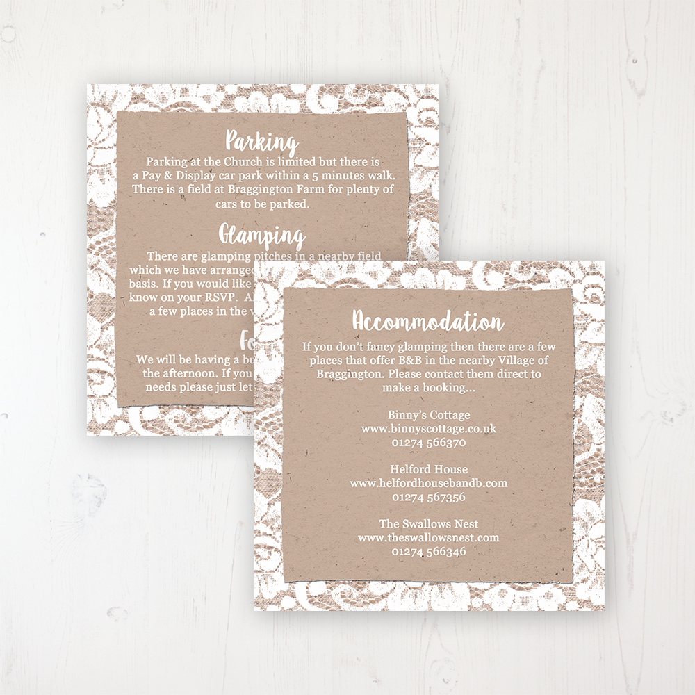 Chantilly Lace Wedding Info Insert Card Personalised Front & Back