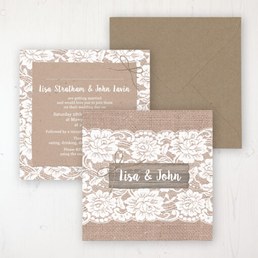 Chantilly Lace Wedding Invitation - Flat Personalised Front & Back with Rustic Envelope