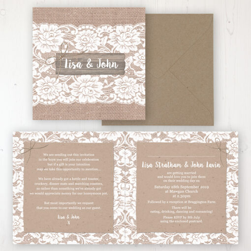 Chantilly Lace Wedding Invitation - Folded Personalised Front & Back with Rustic Envelope