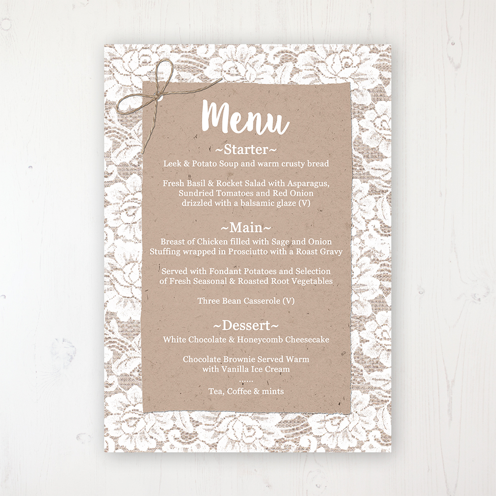 Chantilly Lace Wedding Menu Card Personalised to display on tables
