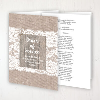 Chantilly Lace Wedding Order of Service - Booklet Personalised Front & Inside Pages