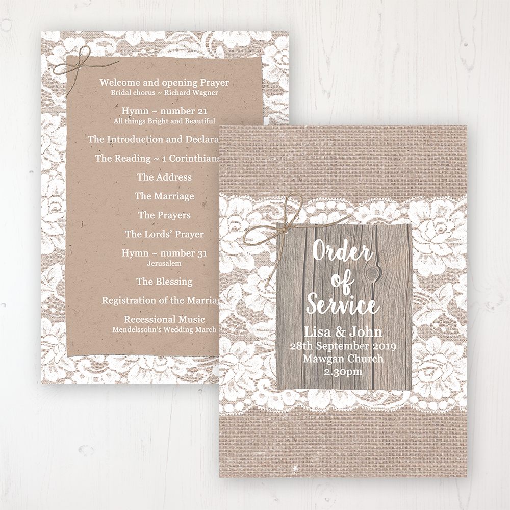 Chantilly Lace Wedding Order of Service - Card Personalised front and back