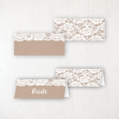 Chantilly Lace Wedding Place Name Cards Blank and Personalised with Flat or Folded Option
