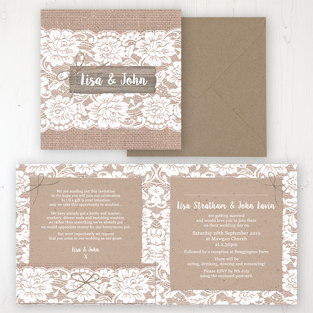 Chantilly Lace Wedding Invitation - Folded Personalised Front & Back with Pocket in inside cover. Includes Rustic Envelope