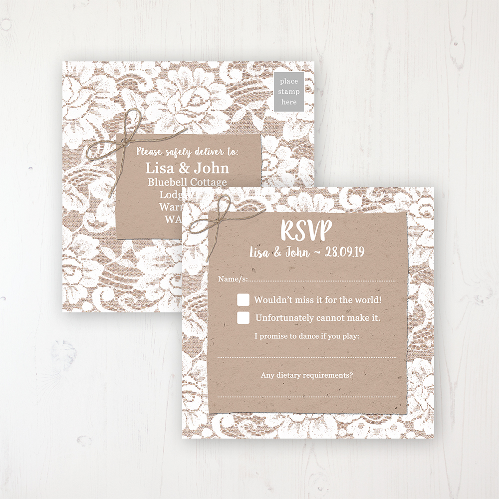 Chantilly Lace Wedding RSVP Postcard Personalised Front & Back