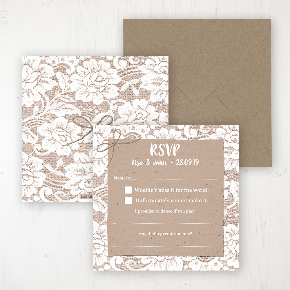 Chantilly Lace Wedding RSVP Personalised Front & Back with Rustic Envelope