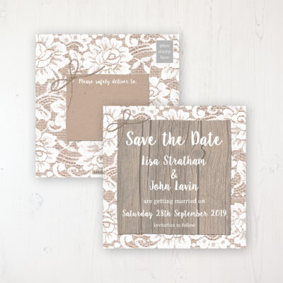 Chantilly Lace Wedding Save the Date Postcard Personalised Front & Back