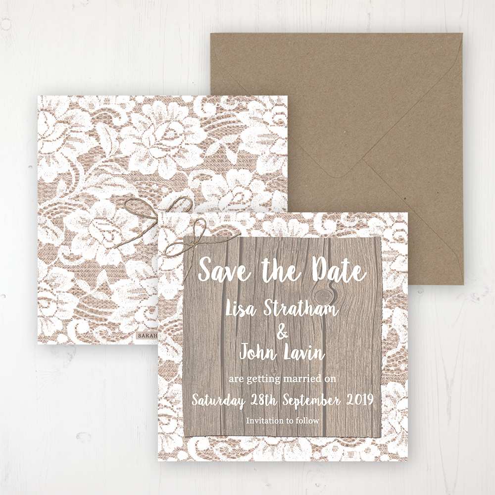 Chantilly Lace Wedding Save the Date Personalised Front & Back with Rustic Envelope