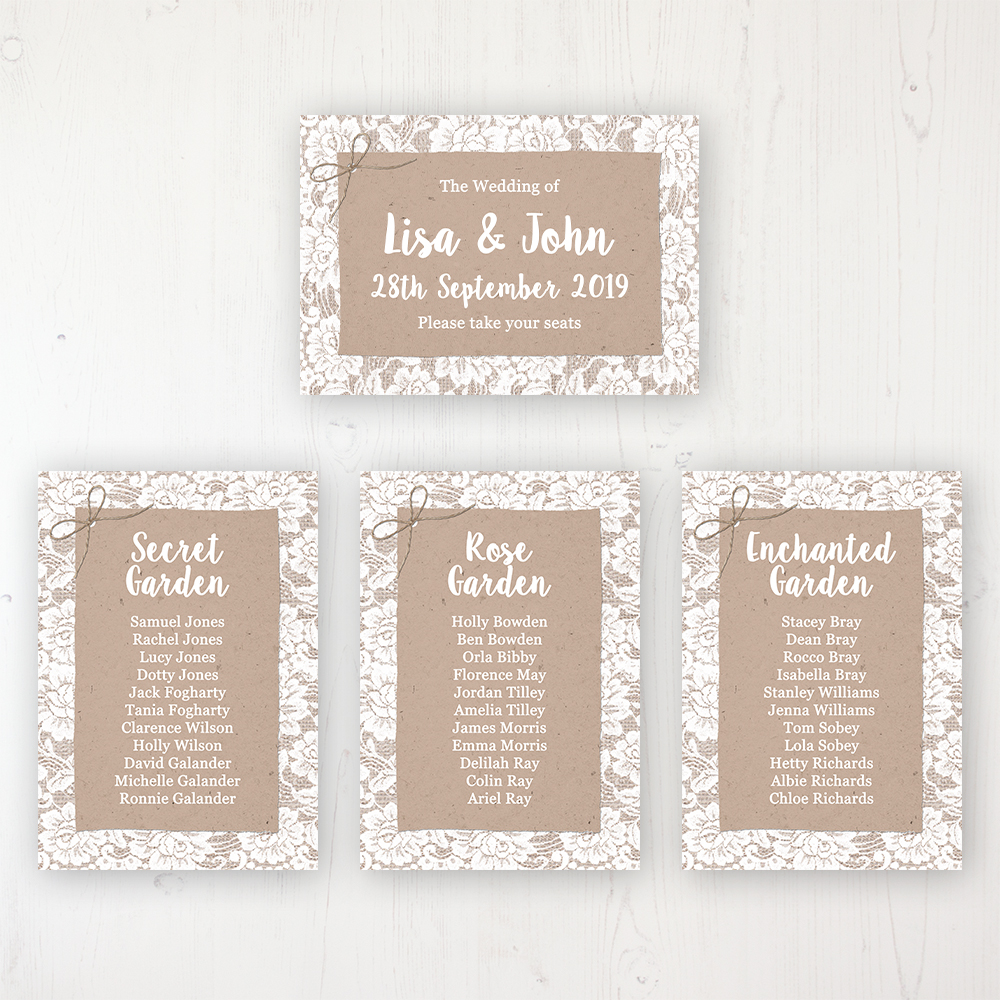 Chantilly Lace Wedding Table Plan Cards Personalised with Table Names and Guest Names