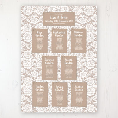 Chantilly Lace Wedding Table Plan Poster Personalised with Table and Guest Names