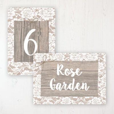 Chantilly Lace Wedding Table Name & Number Personalised Table Name Card and Number Card