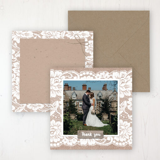 Chantilly Lace Wedding with a photo and with space to write own message