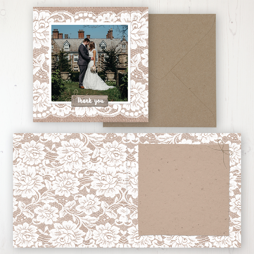 Chantilly Lace Wedding Thank You Card - Folded Personalised with a Message & Photo