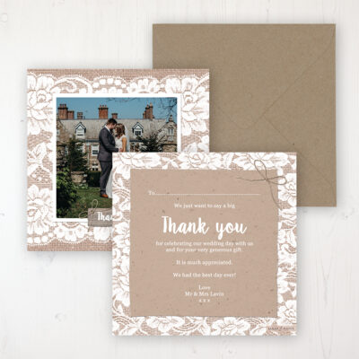 Chantilly Lace Wedding Thank You Card - Flat Personalised with a Message & Photo