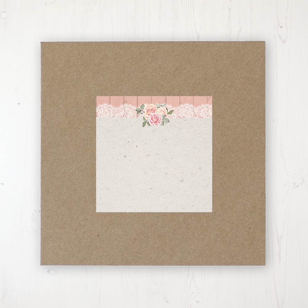 Coral Haze Wedding Envelope Label on Rustic Brown Envelope