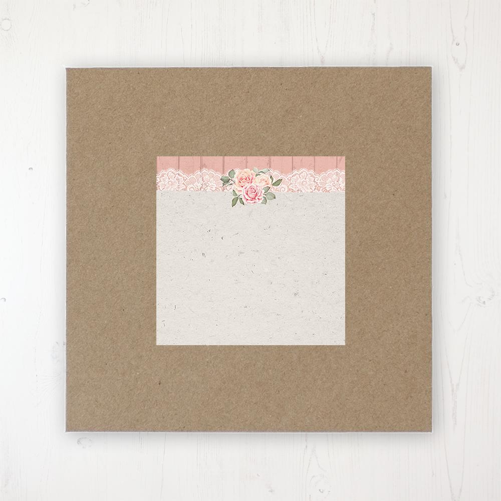 Coral Haze Wedding Envelope Label on Rustic Brown Envelope