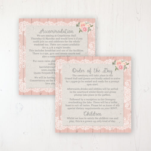 Coral Haze Wedding Info Insert Card Personalised Front & Back