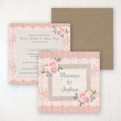 Coral Haze Wedding Invitation - Flat Personalised Front & Back with Rustic Envelope