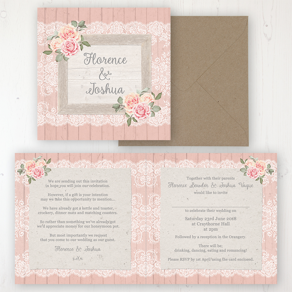 Coral Haze Wedding Invitation - Folded Personalised Front & Back with Rustic Envelope