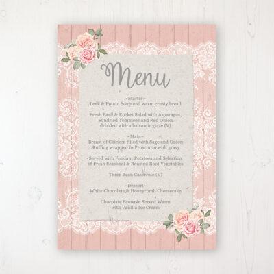 Coral Haze Wedding Menu Card Personalised to display on tables