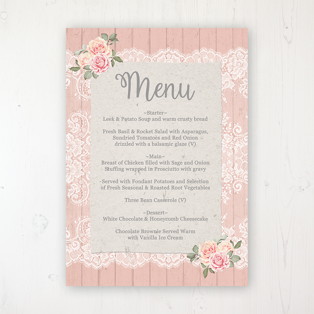 Coral Haze Wedding Menu Card Personalised to display on tables
