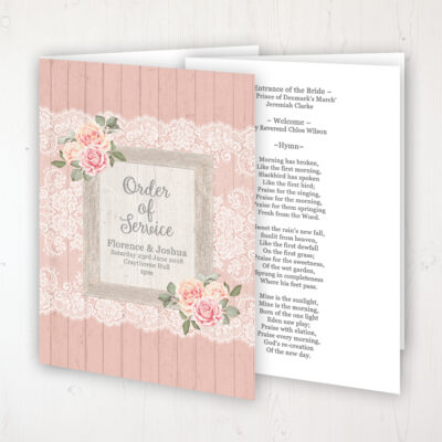 Coral Haze Wedding Order of Service - Booklet Personalised Front & Inside Pages