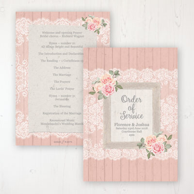Coral Haze Wedding Order of Service - Card Personalised front and back