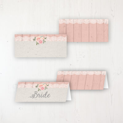 Coral Haze Wedding Place Name Cards Blank and Personalised with Flat or Folded Option