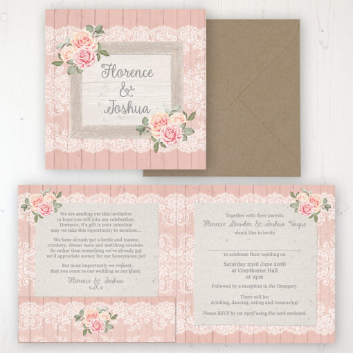 Coral Haze Wedding Invitation - Folded Personalised Front & Back with Pocket in inside cover. Includes Rustic Envelope