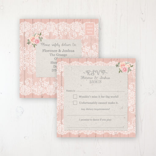 Coral Haze Wedding RSVP Postcard Personalised Front & Back