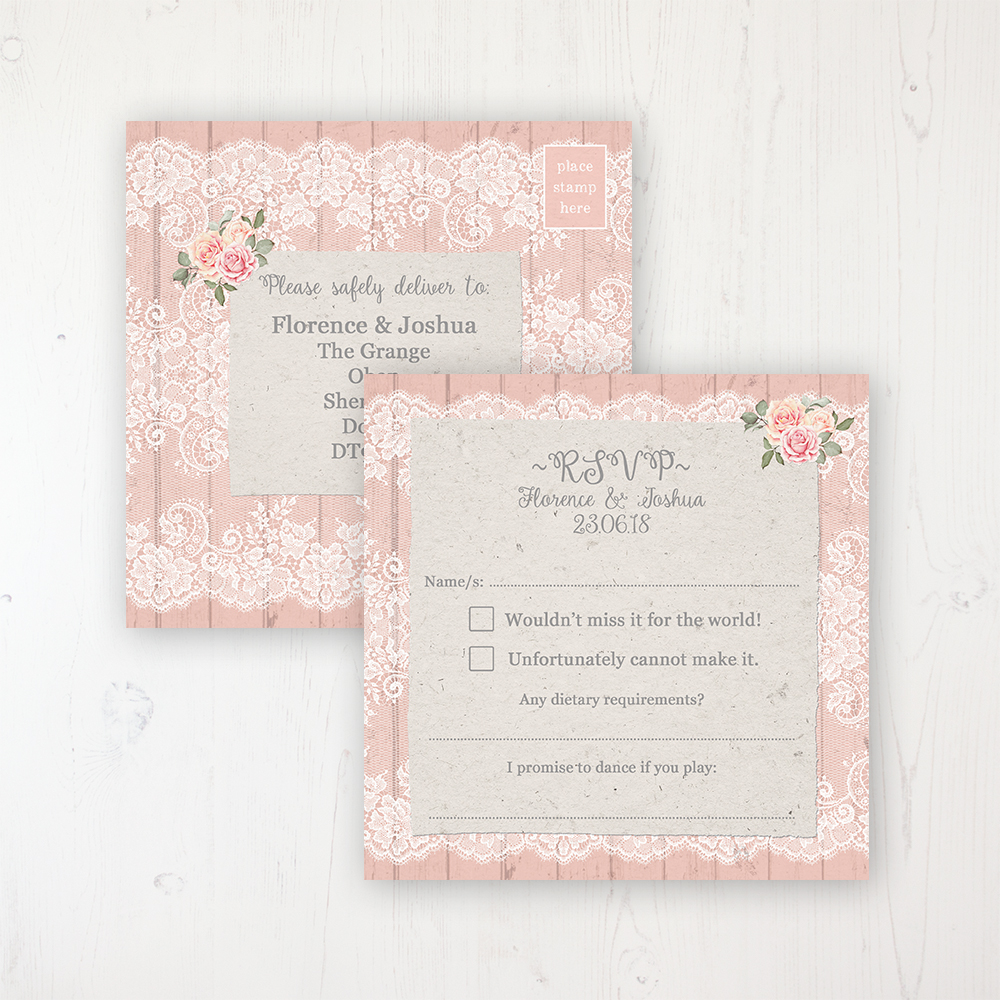 Coral Haze Wedding RSVP Postcard Personalised Front & Back