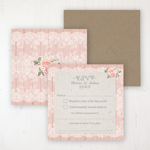 Coral Haze Wedding RSVP Personalised Front & Back with Rustic Envelope