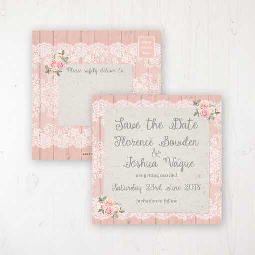 Coral Haze Wedding Save the Date Postcard Personalised Front & Back