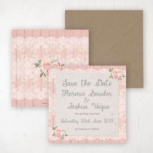 Coral Haze Wedding Save the Date Personalised Front & Back with Rustic Envelope