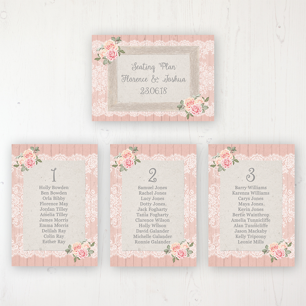 Coral Haze Wedding Table Plan Cards Personalised with Table Names and Guest Names